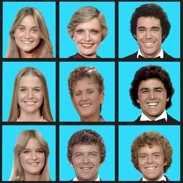 'The Brady Bunch Variety Hour' (l top to r bottom:) Maureen McCormick, Florence Henderson, Barry Williams, Geri Reischl, Ann B. Davis, Christopher Knight, Susan Olsen, Robert Reed and Mike Lookinland.