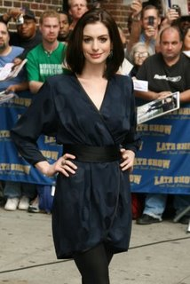 Anne Hathaway outside 'Late Show with David Letterman.'