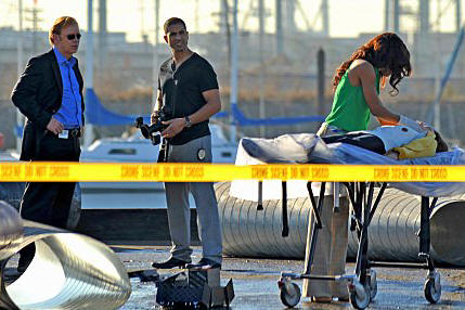 David Caruso as Lt. Horatio Caine, Adam Rodriquez as Eric Delko and Megalyn Echikunwoke as Dr. Tara Price in 'CSI: Miami.'