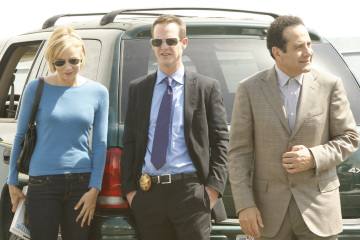 "MONK -- ""Mr.Monk's Favorite Show"" Episode 8001 -- Pictured: (l-r) Traylor Howard as Natalie Teeger, Jason Gray-Stanford as Lt. Randall Disher, Tony Shalhoub as Adrian Monk -- USA Network Photo: Vivian Zink"