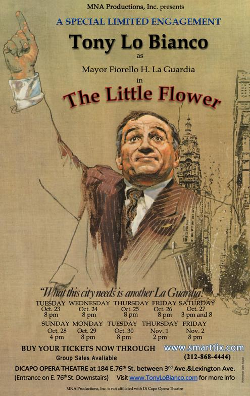"Tony Lo Bianco stars in the off-Broadway play ""The Little Flower."""