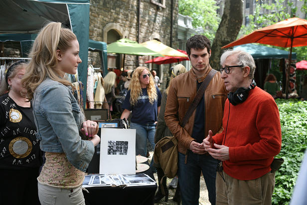 Evan Rachel Wood, Henry Cavill and Woody Allen making 'Whatever Works.'