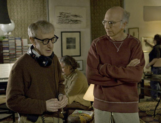 Woody Allen and Larry David on the set of 'Whatever Works.'