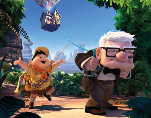 Russell (voiced by Jordan Nagai) and Carl Frederickson (voiced by Ed Asner) seek adventure in 'Up.'