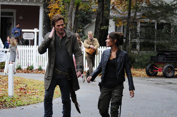 "REVOLUTION -- ""Ghosts"" Episode 112 -- Pictured: (l-r) Billy Burke as Miles Matheson, Daniella Alonso as Nora -- (Photo by: Brownie Harris/NBC)"