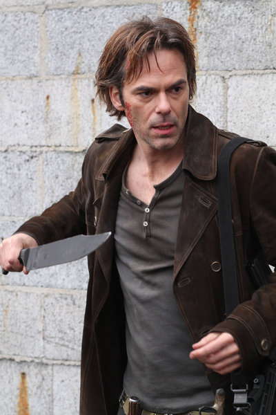 "REVOLUTION -- ""The Longest Day"" Episode 117 -- Pictured: Billy Burke as Miles Matheson -- (Photo by: Brownie Harris/NBC)"