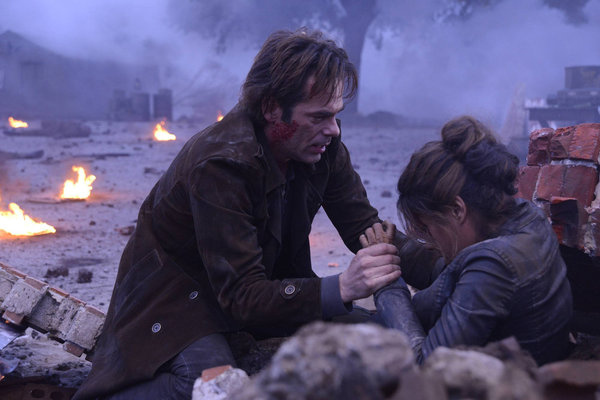 "REVOLUTION -- ""The Longest Day"" Episode 117 -- Pictured: (l-r) Billy Burke as Miles Matheson, Daniella Alonso as Nora -- (Photo by: Brownie Harris/NBC)"