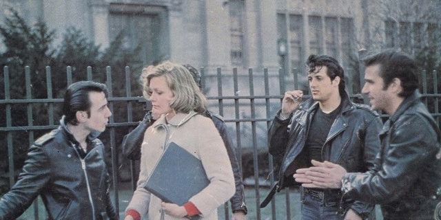 The Lords of Flatbush with (l to r) Paul Mace, Susan Blakely, Perry King (obstructed), Sylvester Stallone and Henry Winkler.