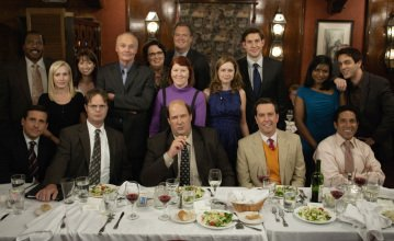 "THE OFFICE -- ""Niagara"" Episode 604/605 -- Pictured: (standing, l-r) Leslie David Baker as Stanley Hudson, Angela Kinsey as Angela Martin, Ellie Kemper as Kelly Erin Hannon, Creed Bratton as Creed, Phyllis Smith as Phyllis Lapin, Bobby Ray Shafer as Bob Vance, Kate Flannery as Meredith Palmer, Jenna Fischer as Pam Beesly, John Krasinski as Jim Halpert, Mindy Kaling as Kelly Kapoor, B.J. Novak as Ryan Howard; (seated, l-r) Steve Carell as Michael Scott, Rainn Wilson as Dwight Schrute, Brian Baumgartner as Kevin Malone, Ed Helms as Andy Bernard, Oscar Nunez as Oscar Martinez -- NBC Photo: Chris Haston"