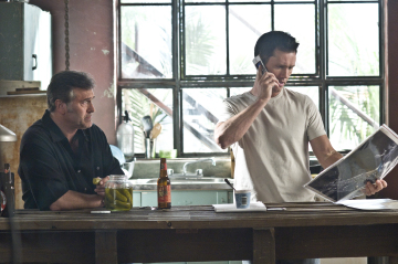 "BURN NOTICE -- ""Breaking and Entering"" Episode 201 -- Pictured: (l-r) Bruce Campbell as Sam Axe, Jeffrey Donovan as Michael Westen --USA Network Photo: Dan Littlejohn"