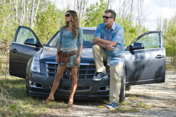 "BURN NOTICE -- ""Scatter Point"" Episode 205 -- Pictured: (l-r) Gabrielle Anwar as Fiona Glenanne, Bruce Campbell as Sam Axe -- USA Network Photo: Glenn Watson"