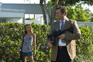 "BURN NOTICE -- ""Trust Me"" Episode 203 -- Pictured: (l-r) Gabrielle Anwar as Fiona Glenanne, Bruce Campbelll as Sam Axe -- USA Network Photo: Glenn Watson"