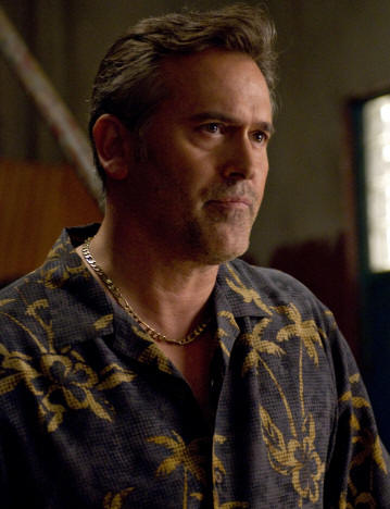 "BURN NOTICE -- ""Double Booked"" Episode 208 -- Pictured: Bruce Campbell as Sam Axe -- USA Network Photo: Glenn Watson"