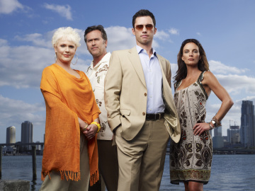 Sharon Gless, Bruce Campbell, Jeffrey Donovan and Gabrielle Anwar in 'Burn Notice.'