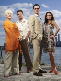 BURN NOTICE -- Pictured: (l-r) Sharon Gless as Madeline Westen, Bruce Campbell as Sam Axe, Jeffrey Donovan as Michael Westen, Gabrielle Anwar as Fiona Glenanne -- USA Network Photo: Justin Stephens