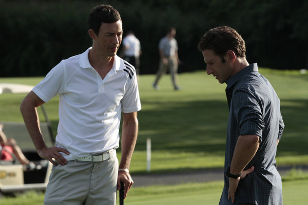 "ROYAL PAINS -- Episode 312 -- ""Some Pig"" -- Pictured: (l-r) Tom Cavanagh as Jack O'Malley, Mark Feuerstein as Hank Lawson -- Photo by: Giovanni Rufino/USA Network"