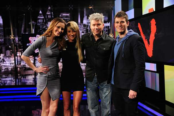 "Candace Bailey, Sara Underwood and Chris Gore on G4's ""Attack of the Show."""