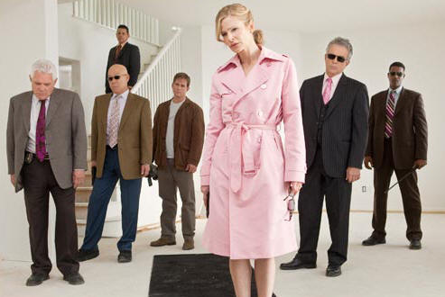 The cast of THE CLOSER: l. to r. - G.W. Bailey, Michael Paul Chan, Raymond Cruz, Phillip P. Keane, Kyra Sedgwick, Tony Denison and Corey Reynolds