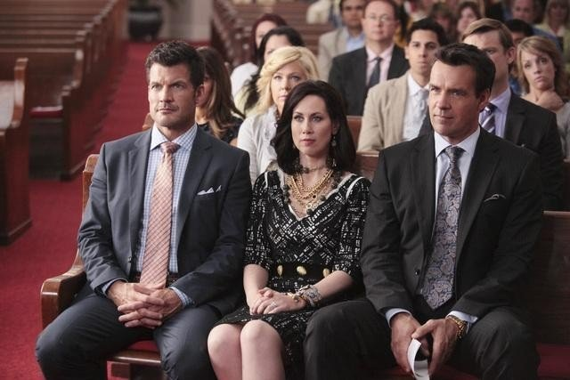 "Mark Deklin, Miriam Shor and David James Elliott in ""GCB."""