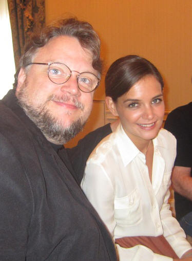 Guillermo del Toro and Katie Holmes at the New York press day for 'Don't Be Afraid of the Dark' at the Waldorf Astoria Hotel, August 9, 2011.  Photo copyright 2011 Jay S. Jacobs.