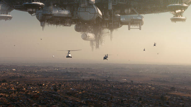 An incapacitated space ship hovers over Johannesburg in 'District 9.'