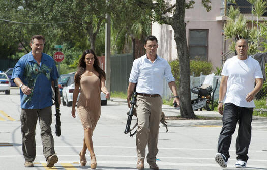 "BURN NOTICE -- ""Means & Ends"" -- Pictured: (l-r) Bruce Campbell as Sam Axe, Gabrielle Anwar as Fiona Glenanne, Jeffrey Donovan as Michael Westen, Coby Bell as Jesse Porter -- (Photo by Glenn Watson/USA Network)"