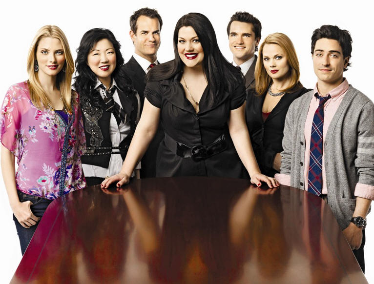 'Drop Dead Diva' cast: (l to r) April Bowlby, Margaret Cho, Josh Stamberg, Brooke Elliott, Jackson Hurst, Kate Levering, Ben Feldman