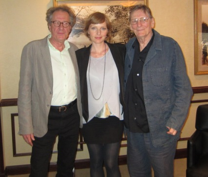 "Geoffrey Rush, Alexandra Schepisi and Fred Schepisi at the New York Press Day for ""The Eye of the Storm"" The Regency Hotel, New York, September 4, 2012."