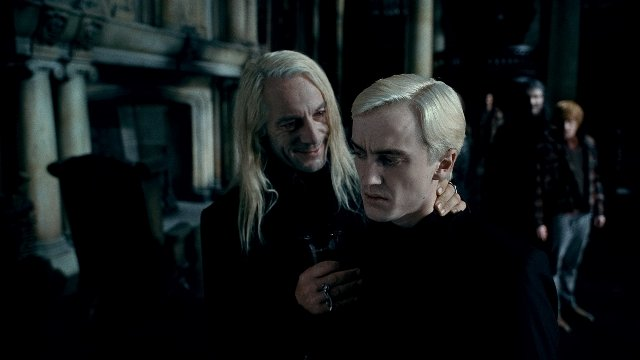 Jason Isaacs and Tom Felton in HARRY POTTER AND THE DEADLY HOLLOWS - PART 2.