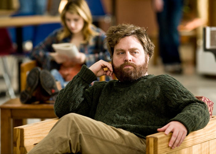 Emma Roberts (background) and Zach Galifianakis (foreground) star in writer/directors Anna Boden and Ryan Fleck's IT'S KIND OF A FUNNY STORY, a Focus Features Release.