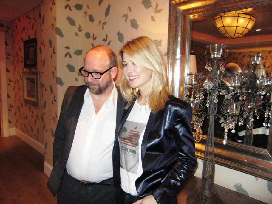 Paul Giamatti and Rosamund Pike at the New York Press Day for BARNEY'S VERSION at the Crosby Street Hotel, New York, NY, January 10, 2011.