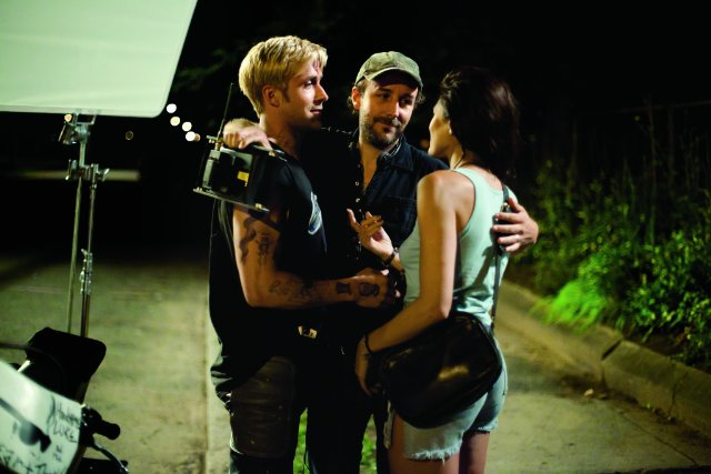 Ryan Gosling, director Derek Cianfrance and Eva Mendes on the set of 'The Place Beyond the Pines.'