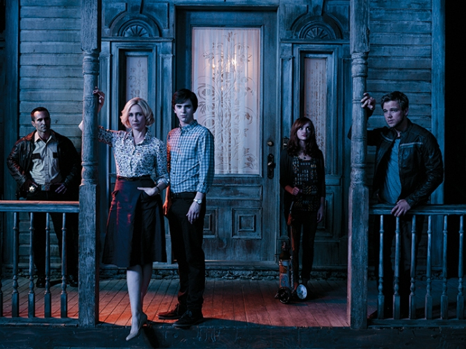 "Nestor Carbonell, Vera Farmiga, Freddie Highmore, Olivia Cooke and Max Thieriot star in A&E's ""Bates Motel."""