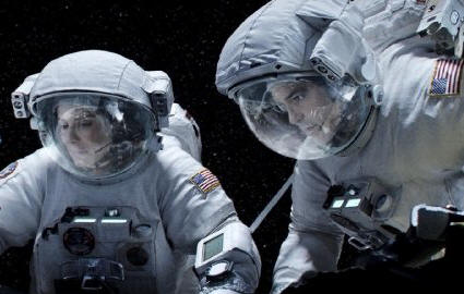 "Sandra Bullock and George Clooney star in ""Gravity."""