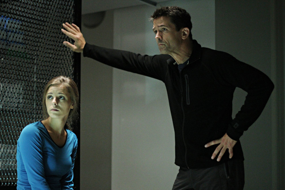 "HELIX -- ""Vector"" Episode 102 -- Pictured: (l-r) Jordan Hayes as Dr. Sarah Jordan, Billy Campbell as Dr. Alan Farragut -- (Photo by: Bertrand Calmeau/Syfy)"