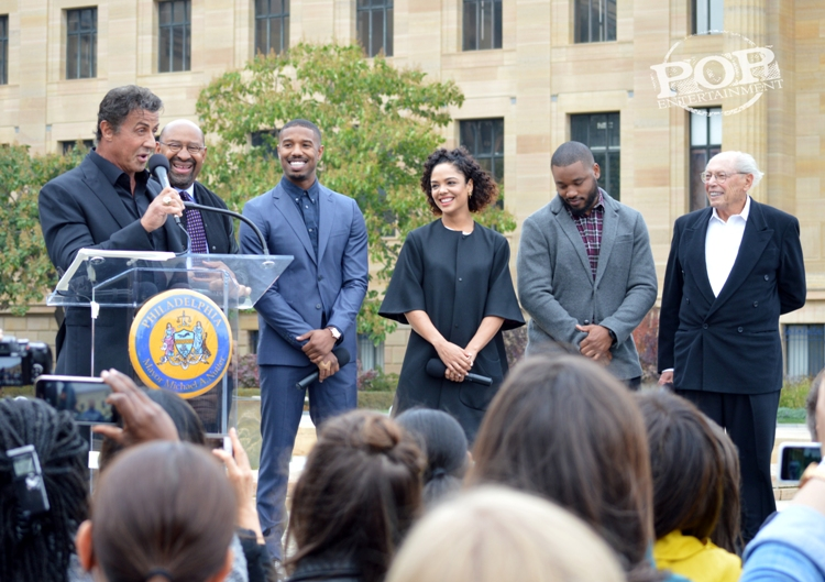 Sylvester Stallone, Mayor Michael Nutter, Michael B. Jordan, Tessa Thompson, Ryan Coogler and Irwin Winkler at the Philadelphia press conference for �Creed� on the steps of the Philadelphia Museum of Art. Photo copyright 2015 Deborah Wagner.