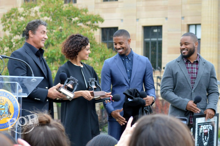 Sylvester Stallone, Michael B. Jordan, Tessa Thompson and Ryan Coogler at the Philadelphia press conference for �Creed� on the steps of the Philadelphia Museum of Art. Photo copyright 2015 Deborah Wagner.