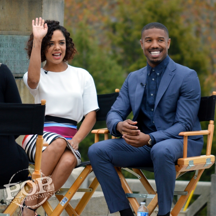 Tessa Thompson and Michael B. Jordan at the Philadelphia press conference for �Creed� on the steps of the Philadelphia Museum of Art. Photo copyright 2015 Deborah Wagner.