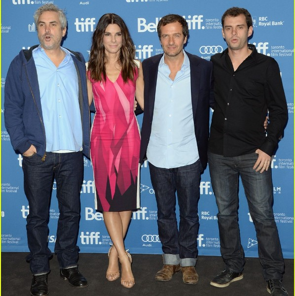 "David Heyman, Sandra Bullock, Alfonso Cuarón & Jonás Cuarón at the press conference for ""Gravity."""