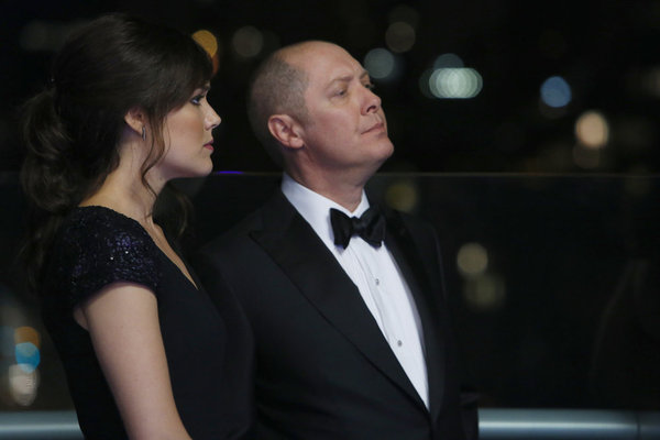 "THE BLACKLIST -- ""The Freelancer"" Episode 101 -- Pictured: (l-r) Megan Boone as Elizabeth Keen, James Spader as Raymond 'Red' Reddington -- (Photo by: Will Hart/NBC)"