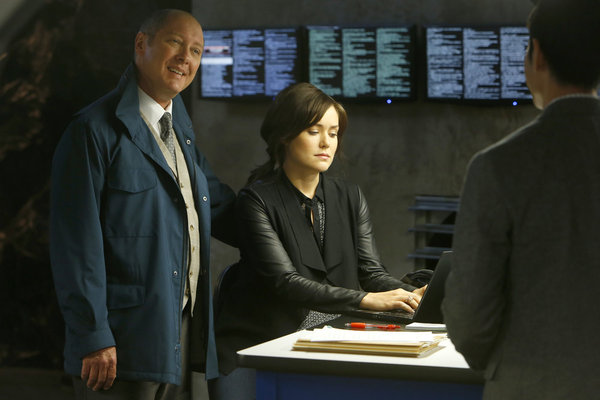 "THE BLACKLIST -- ""Wujing"" Episode 102 -- Pictured: (l-r) James Spader as Raymond Reddington, Megan Boon as Elizabeth Keen -- (Photo by: Will Hart/NBC)"