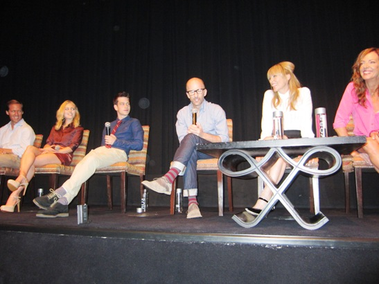 "Nat Faxon, AnnaSophia Robb, Liam James, Jim Rash, Toni Collette and Allison Janney at the New York Press Conference for ""The Way, Way Back"" at the Crosby Street Hotel, New York, NY on June 27, 2013."