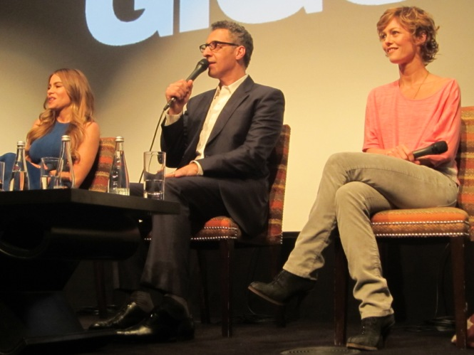 "Sofia Vergara, John Turturro and Vanessa Paradis at the ""Fading Gigolo"" press conference at the Crosby Street Hotel in New York, April 11, 2014.  Photo copyright 2014 Jay S. Jacobs"