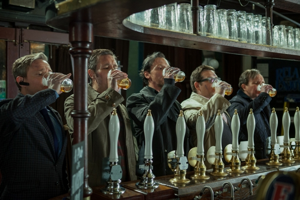 (l to r) Martin Freeman as Oliver, Paddy Considine as Steven, Simon Pegg as Gary, Nick Frost as Andy, and Eddie Marsan as Peter in Edgar Wright's THE WORLD'S END, a Focus Features release.