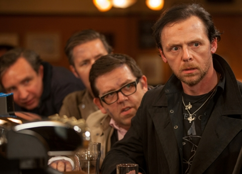 (l to r) Eddie Marsan as Peter, Paddy Considine as Steven, Nick Frost as Andy, and Simon Pegg as Gary in Edgar Wright's THE WORLD'S END, a Focus Features release.