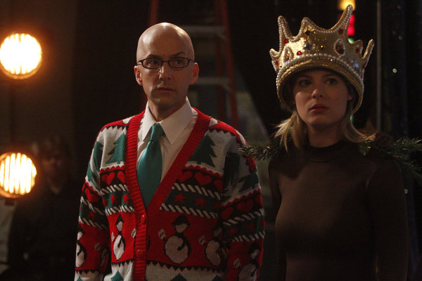 "COMMUNITY -- ""Regional Holiday Music"" Episode 311 -- Pictured: (l-r) Jim Rash as Dean Pelton, Gillian Jacobs as Britta -- Photo by: Jordin Althaus/NBC"