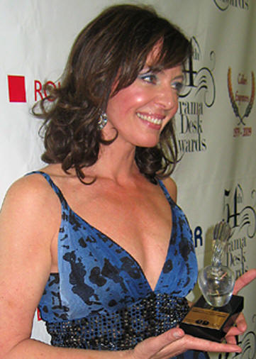 Allison Janney with her award at the 2009 Drama Desk Awards.