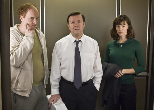 Louis C.K., Ricky Gervais and Jennifer Garner in 'The Invention of Lying.'