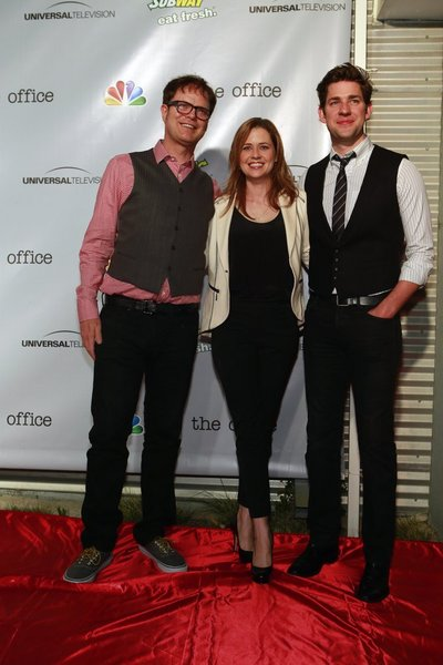 "NBCUNIVERSAL EVENTS -- The Office Wrap Party -- Pictured: (l-r) Rainn Wilson, Jenna Fischer and John Krasinski at ""The Office"" wrap party at Unici Casa in Los Angeles, CA on Saturday, March 16. The Office airs Thursdays on NBC (9-9:30 p.m. ET/PT) -- (Photo by: Trae Patton/NBC)"
