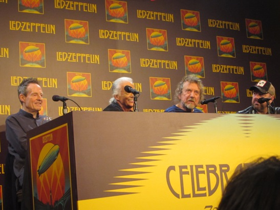 Led Zeppelin at the New York Museum of Modern Art press conference for the release of �Celebration Day.� (l to r: John Paul Jones, Jimmy Page, Robert Plant and Jason Bonham)